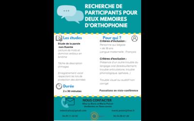 Recherche de sujets pour deux mémoires d'orthophonie